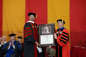 Dr. Myers and Caldwell College President Nancy H. Blattner, Ph.D.